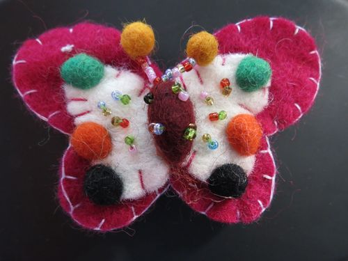 Felted butterfly badge
