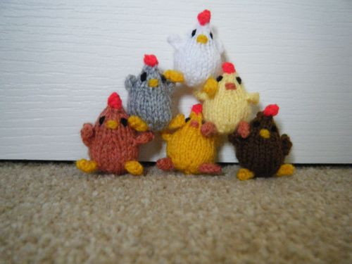 Big pyramid of knitted chicks