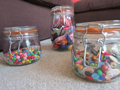 Three jars - buttons, beads, ribbons