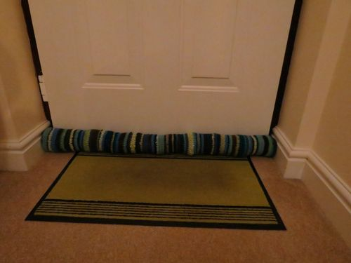 Crocheted draft excluder - finished