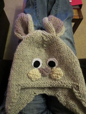 Knitting rabbit hat continued (2)
