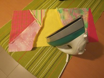 Hand sewn book cover - 03 - Patchwork book cover - in process
