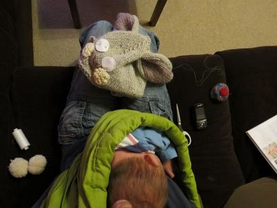 Knitting rabbit hat continued (1)