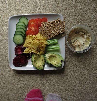 Salad and humous