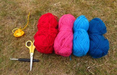 Making crochet bunting