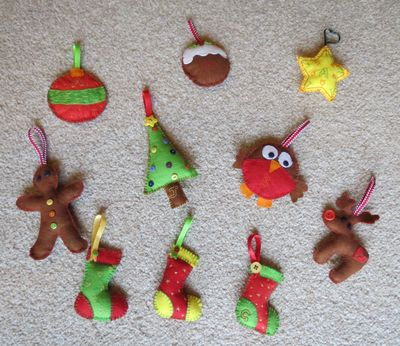 More felt Christmas tree ornaments (2) (1024x887)
