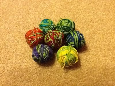 Balled rainbow sock wool - knitting goddess