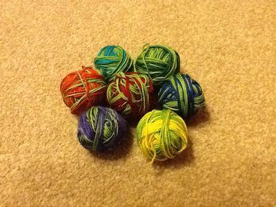 Balled rainbow sock wool - knitting goddess