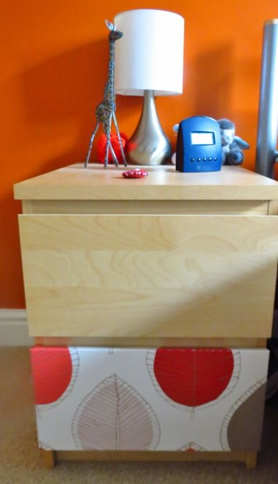 Wallpapering chest of drawers (4)