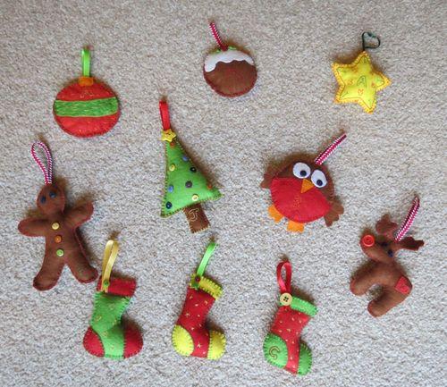 More felt Christmas tree ornaments (2) (1024x887)
